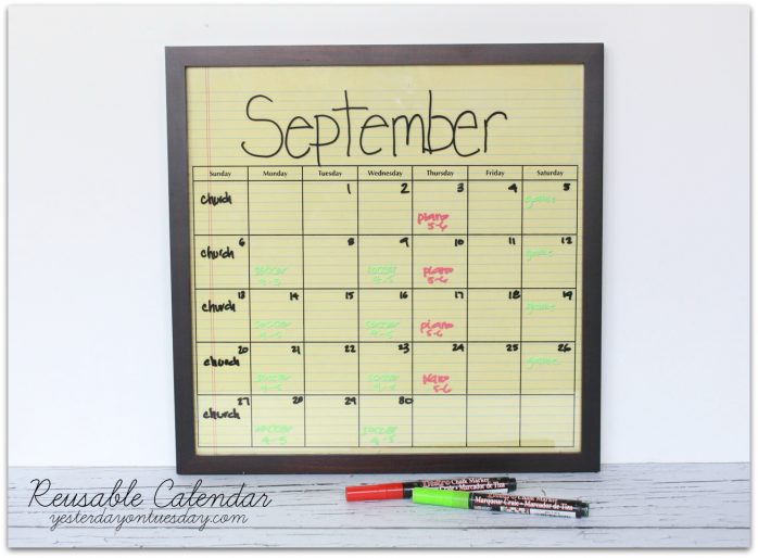 Use this handle reusable calendar to keep track of your family's schedule