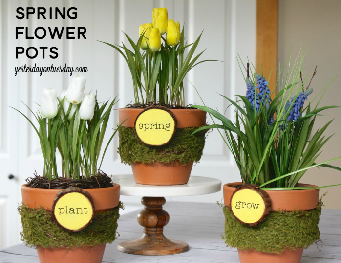 Cheerful Spring Flower Pots made with wood slices and moss