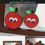 DIY Wood Slice Apple Magnets, a fun and useful back to school project