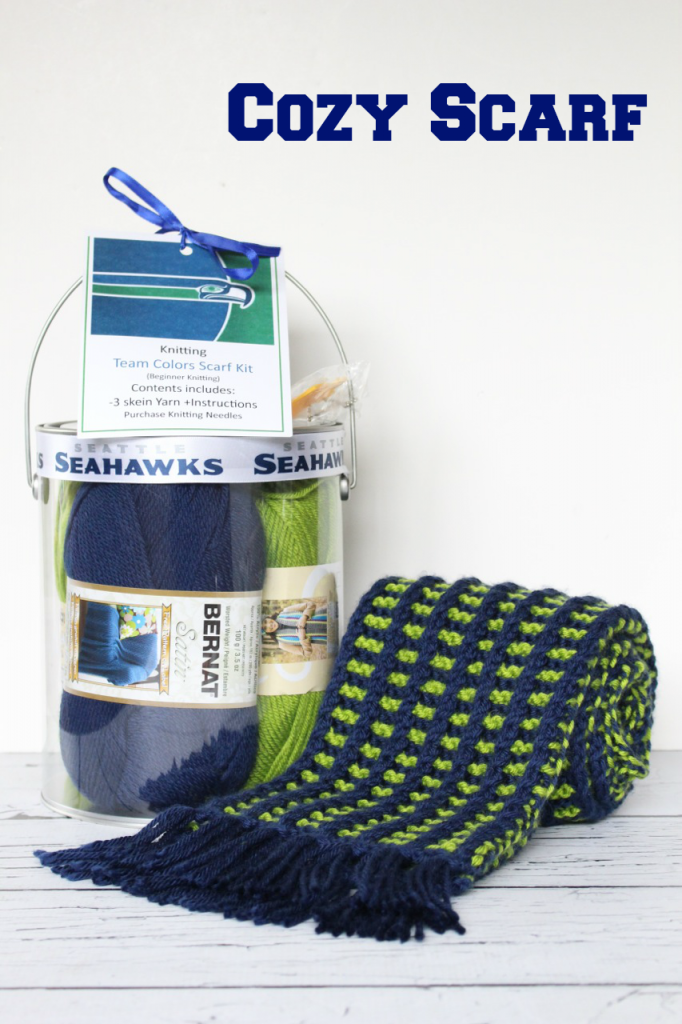 Knit a Cozy Scarf to stay warm while cheering on your favorite sports team!