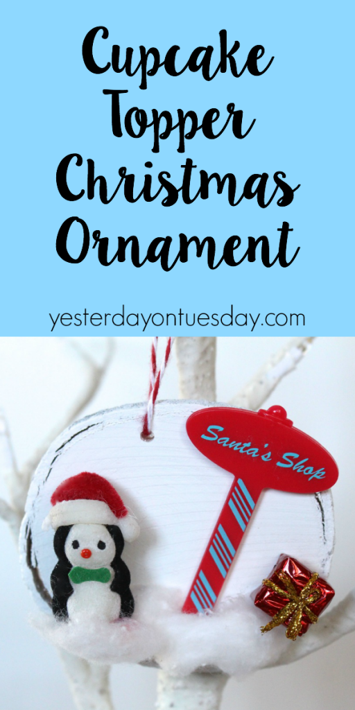 How to use a cupcake topper to make a whimsical Christmas Ornament. A fun and frugal craft idea for the holidays
