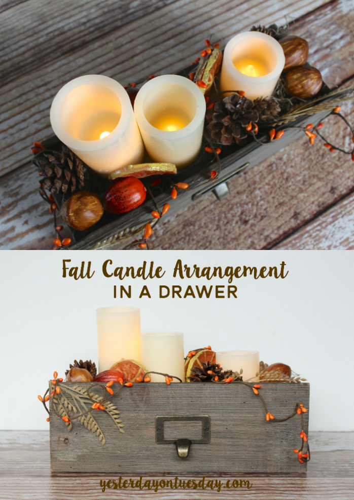 Lovely Fall Candle Arrangement in a Drawer