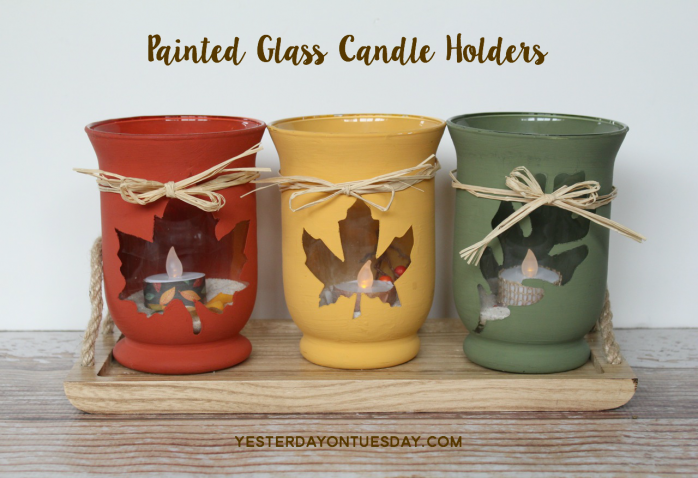 Painted Glass Candleholders for Fall