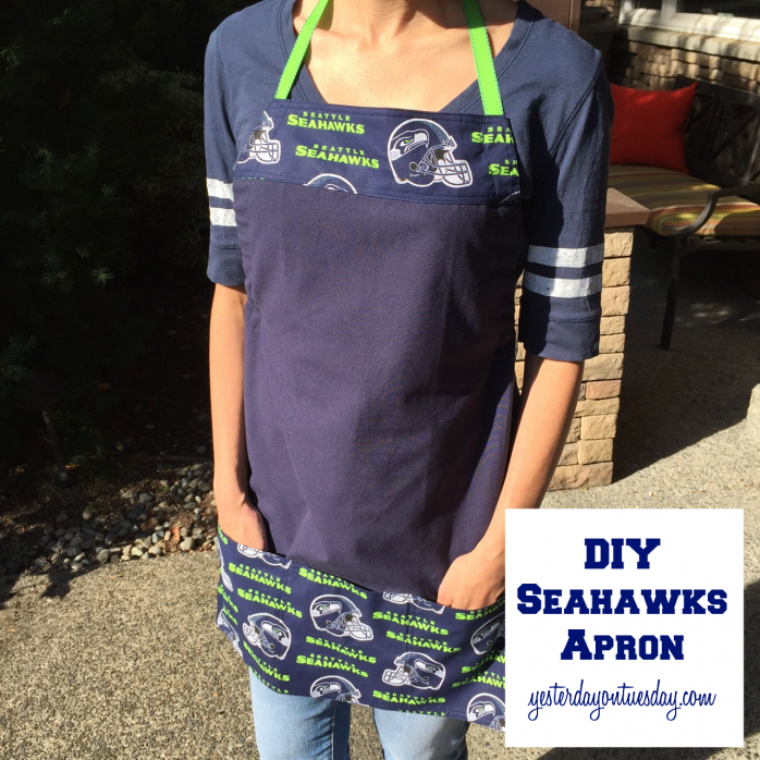 How to make a darlings sports-themed apron from a dishtowel, fat quarter and ribbon!
