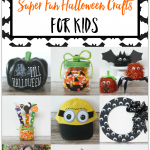 A Dozen Super Fun Halloween Crafts for Kids: Great projects for kids of all ages including Minion costume ideas, a chalkboard pumpkin, pom pom critters and more.