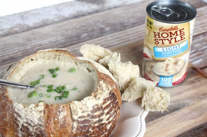 Delicious Baked Potato Soup in a Bread Bowl, an easy and satisfying dish