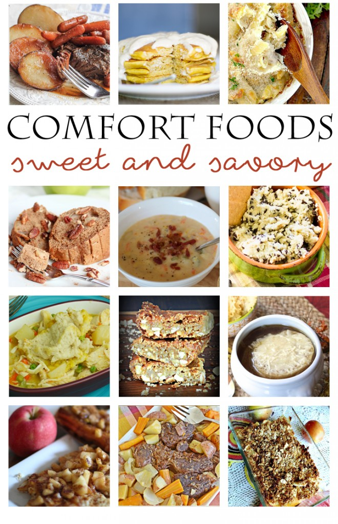 One to pin for fall and winder: Comfort Foods Blog Hop, tons of easy and delicious sweet and savory dishes