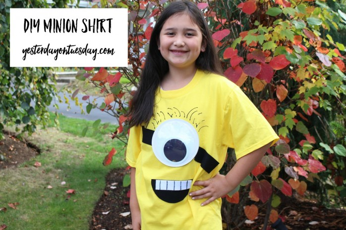 Transform a plain tee shirt into a minion tee shirt