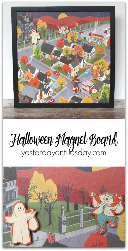 How to transform scrapbook paper into a darling magnet board, great way to display Halloween photos