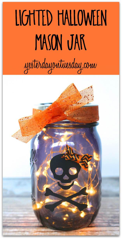 Lighted Halloween Mason Jar