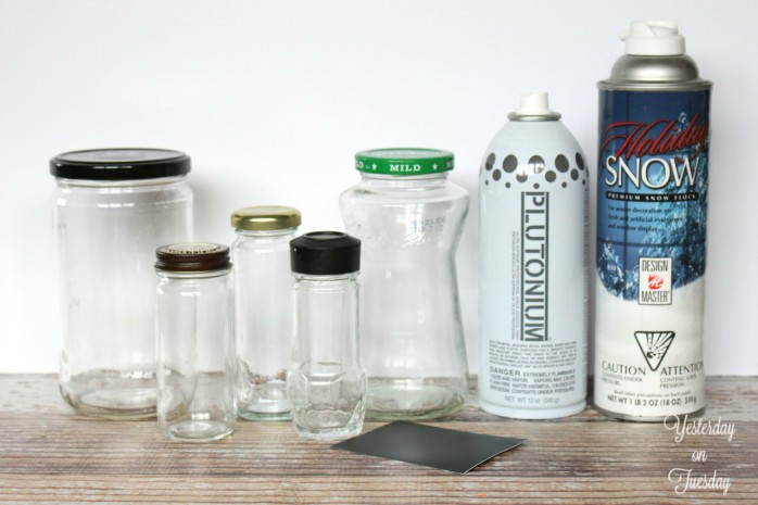 Transform old spice, salsa and sauce jars into fetching snow globes for Christmas decor