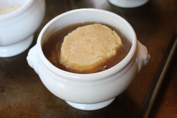 Easy recipes for French Onion Soup and Parmesan Crisps, delicious comfort food for fall.