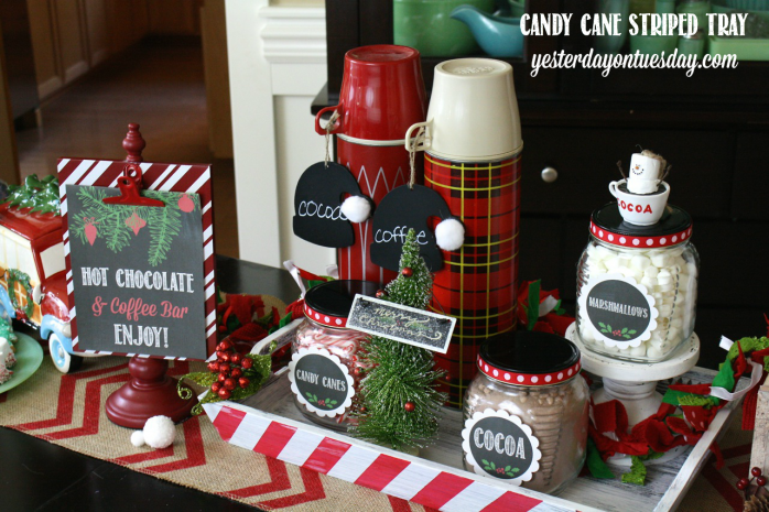 Transform a plain tray into a whimsical Candy Cane Striped Tray