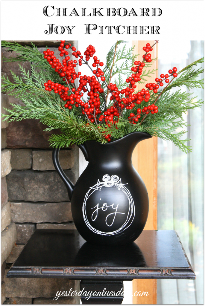 DIY Chalkboard Joy Pitcher, a great upcycle/recycle project for the holidays