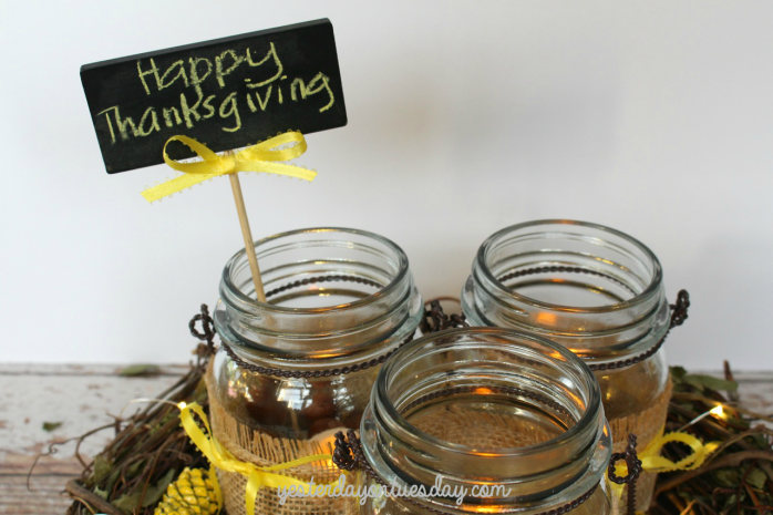 Easy Rustic Mason Jar Centerpiece for Thanksgiving
