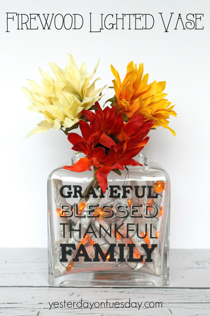 Faux Firewood Lighted Vase for Thanksgiving