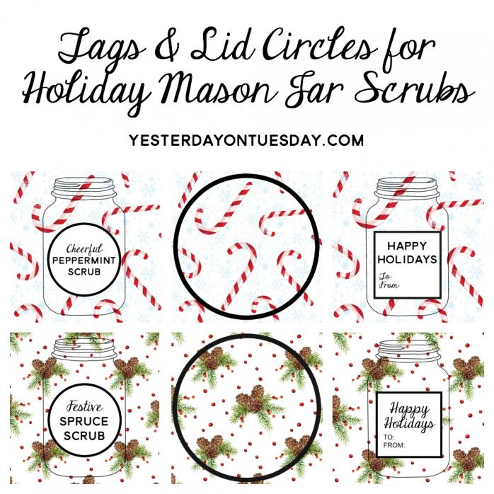 Holiday Mason Jar Scrubs Printables