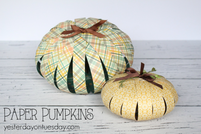 DIY pumpkins using paper strips, a great fall/Thanksgiving craft project