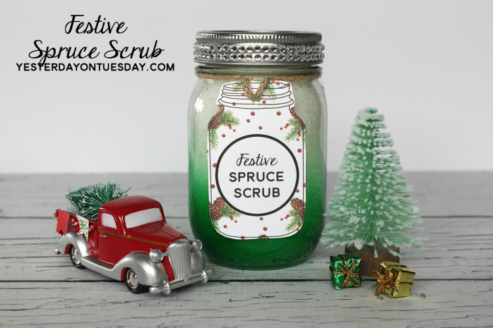 Festive Spruce Scrub Recipe and printable tags and labels, great Christmas gift.