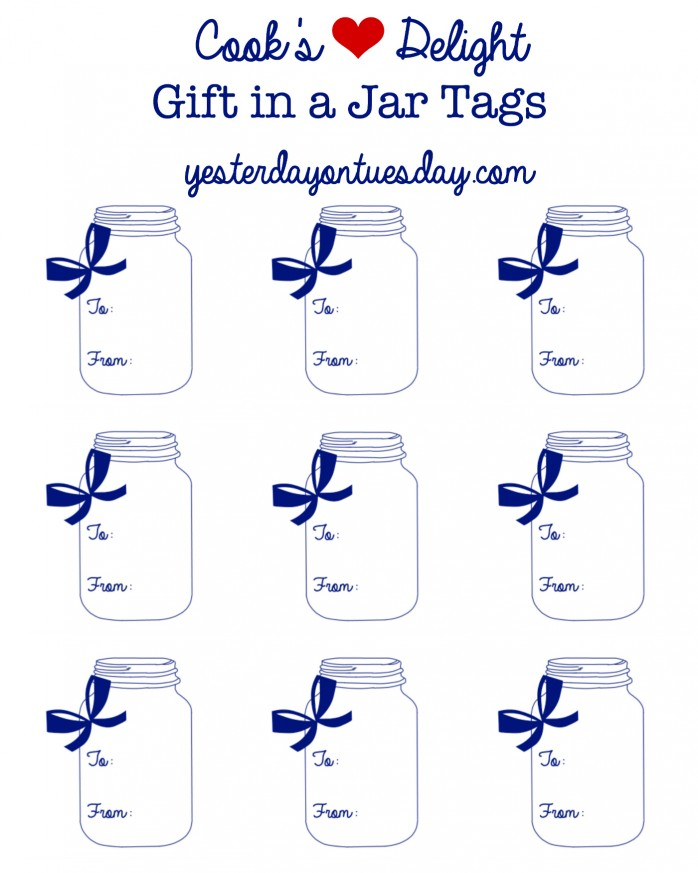 Cook's Delight Gift in a Jar idea and free printable mason jar gift tags