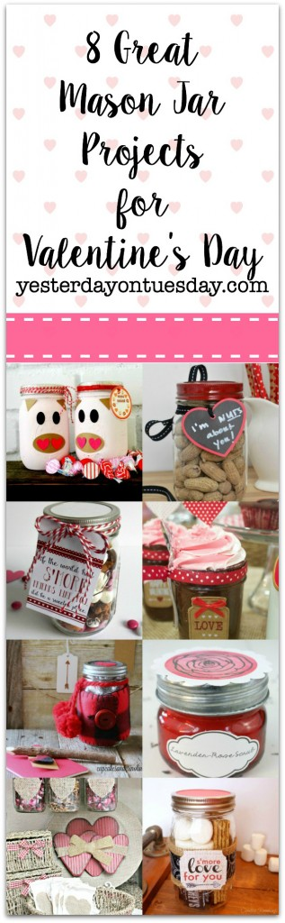 8 Great Mason Jar Projects for Valentine's Day including gifts, a scrub, a candy bar and more!