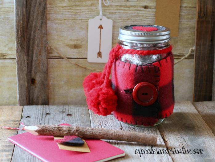 Cozy plaid and flannel Valentines Day Mason Jar
