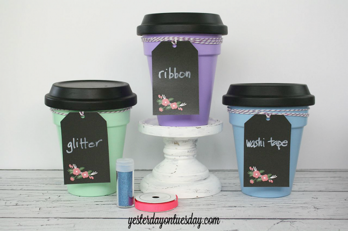 DIY an easy and colorful way to contain craft supplies with @decoart paint