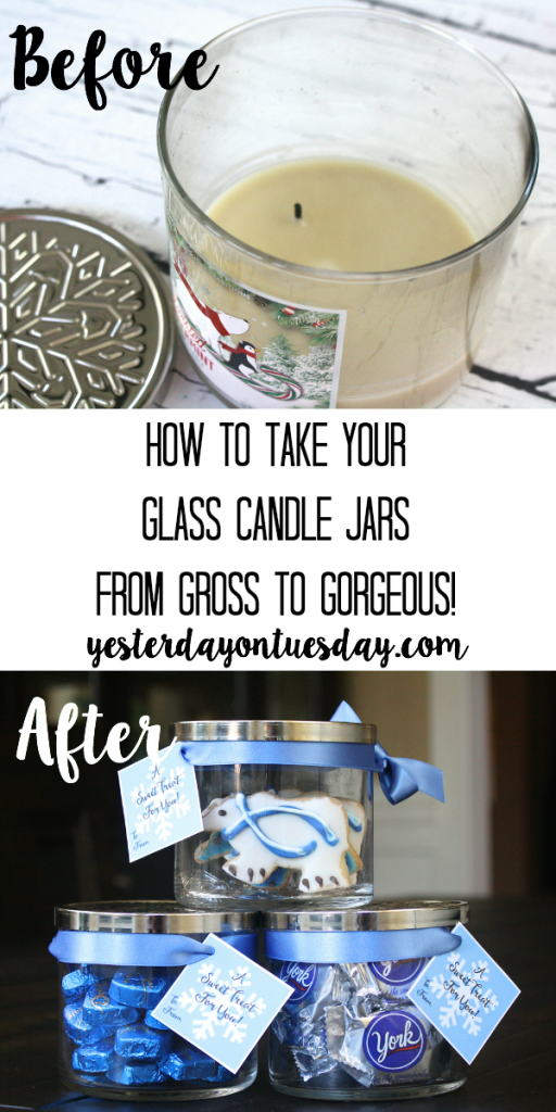 How to transform a glass candle jar into a pretty candy jar, plus printable gift tags