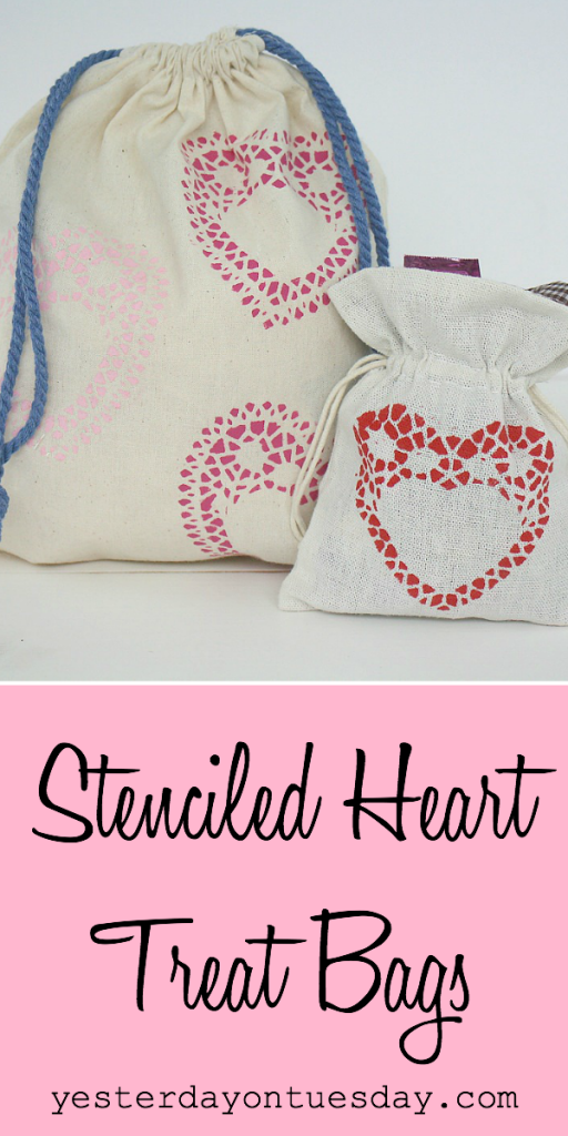 DIY Stenciled Heart Treat Bags, a great valentine's day project for kids