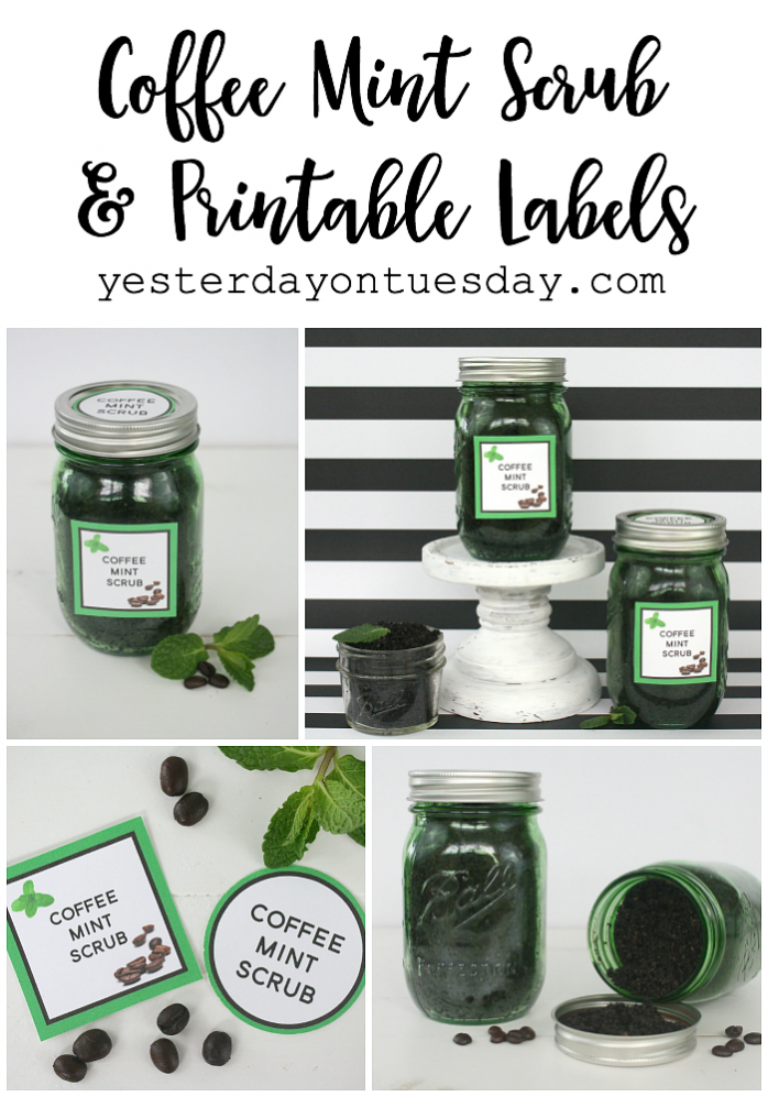 DIY Coffee Mint Scrub in a Mason Jar plus free printable tags and labels.