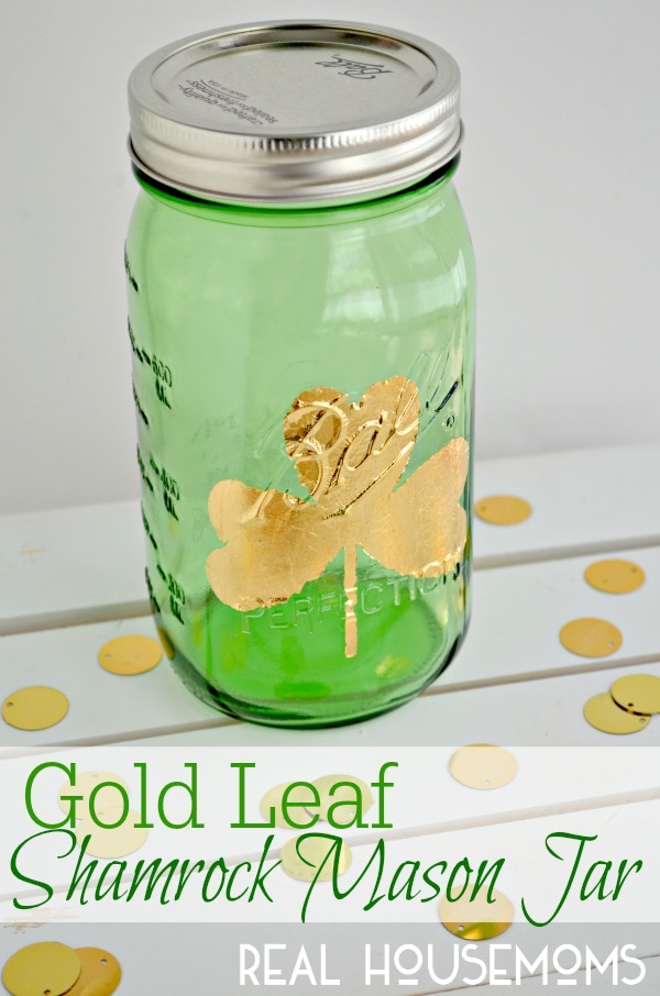 Gold Leaf Mason Jar by Real Housemoms
