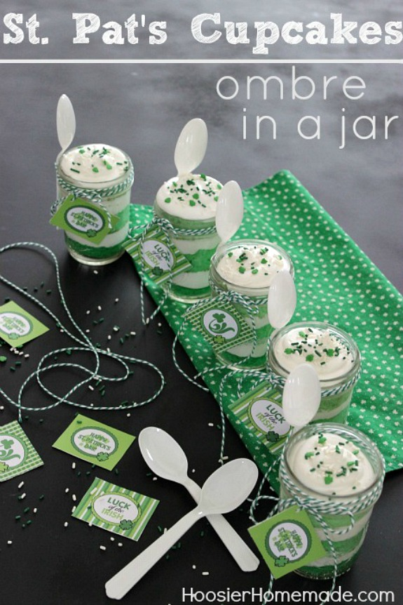 Ombre Cupcakes in a Jar for St. Patrick's Day by Hoosier Homemade