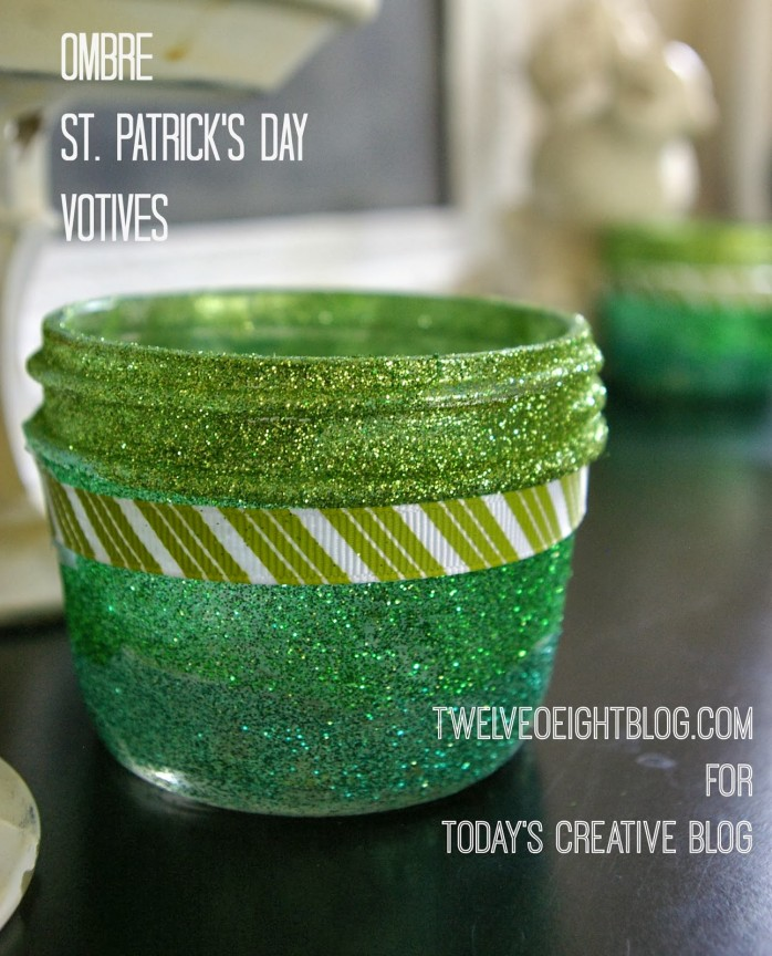 Ombre St. Patrick's Day Votives by TwelveOEight for Today's Creative Blog