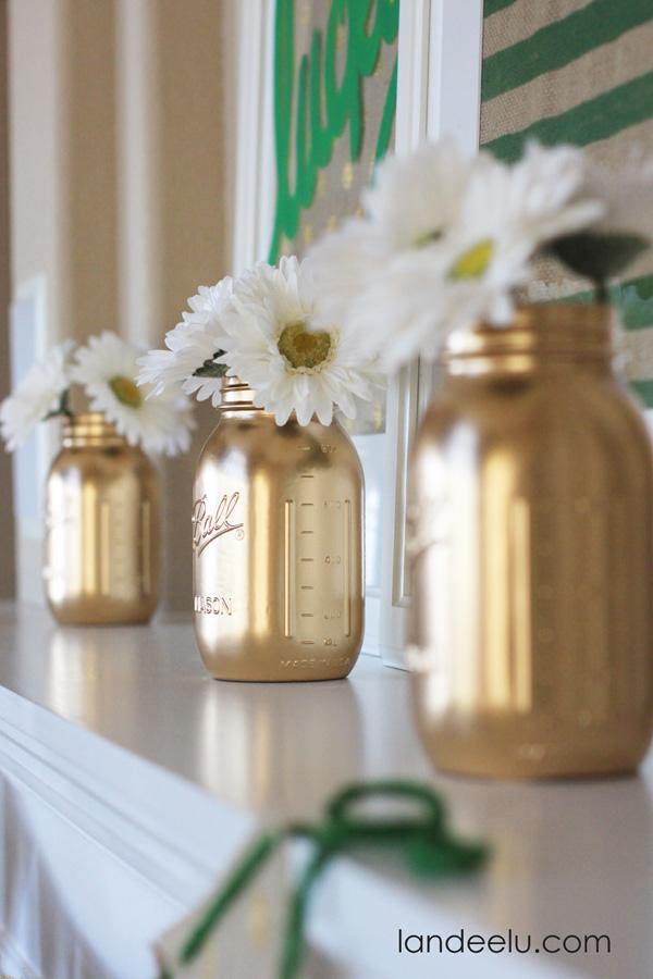 Gold Mason Jars by Landeelu