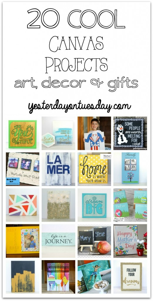 A collection of 20 Cool Canvas Projects including art, decor and gift ideas. Fun art for entertaining, holidays and kids!