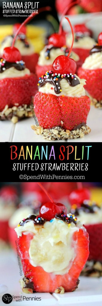 Banana Split Stuffed Strawberries