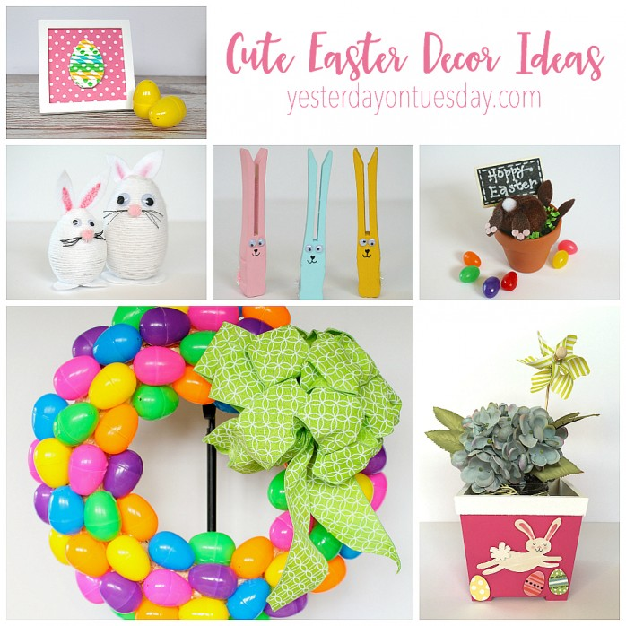 Cute Easter Decor Ideas including a plastic easter egg wreath, yarn wrapped Easter eggs, bunny butt decor and more! Kid friendly crafts for Easter.