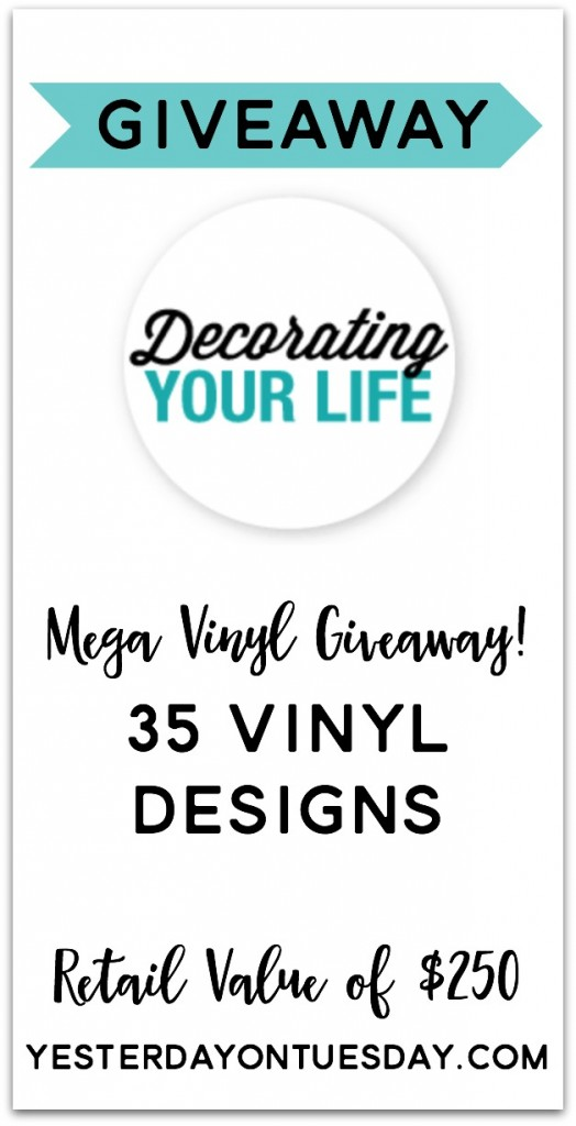 Enter to win an amazing prize pack of 35 different vinyl designs of all sizes and all occasions from @DYLVinyl. Retail Value $250