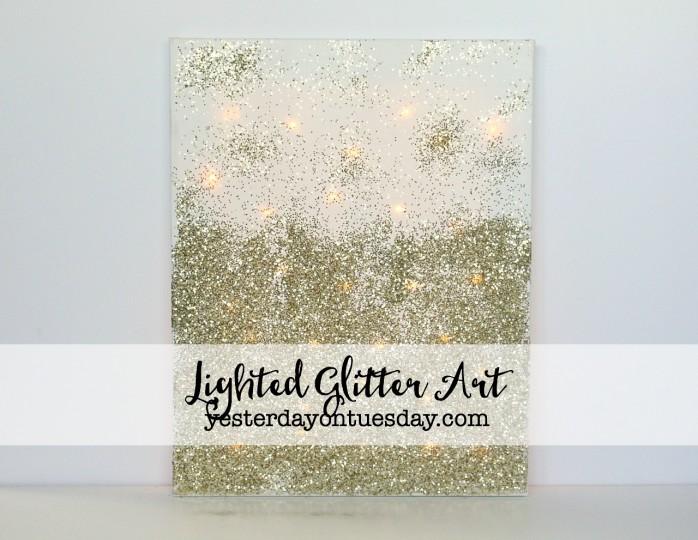 DIY Lighted Glitter Art