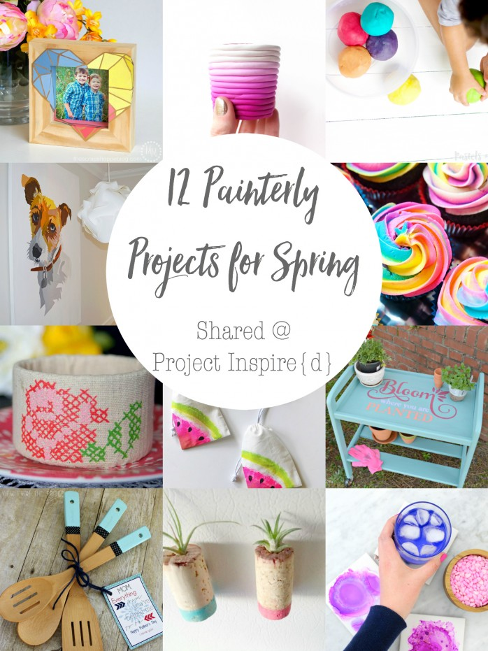 12 Painterly Projects for Spring including homemade play dough, watercolor coasters, paint dipped utensils and more!