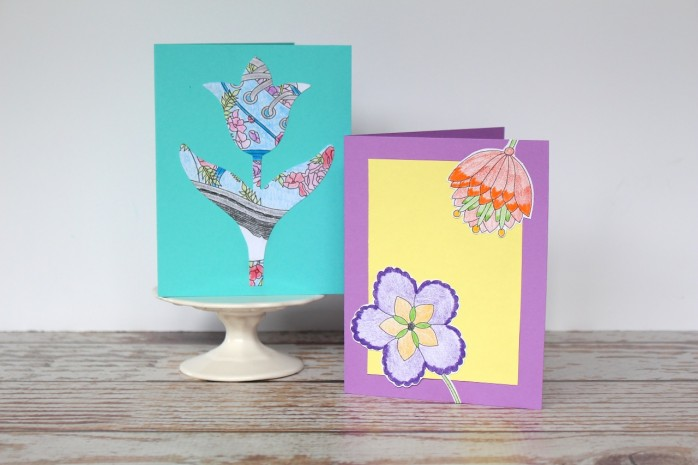 How to make your own cards with coloring pages!