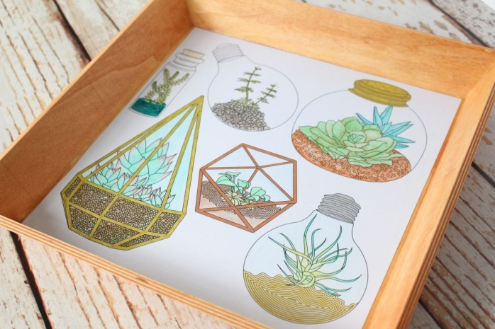 Transform a plain tray into a cool pieces of art using coloring pages