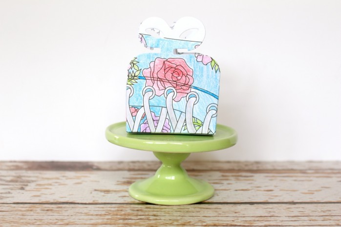 Make a cute gift box out of a coloring page