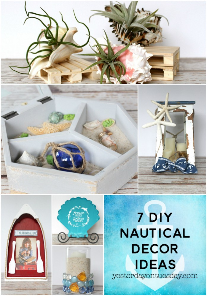 7 DIY Nautical Decor Ideas including a trinket treasure box, air plants in seashells, a nautical lantern and more.