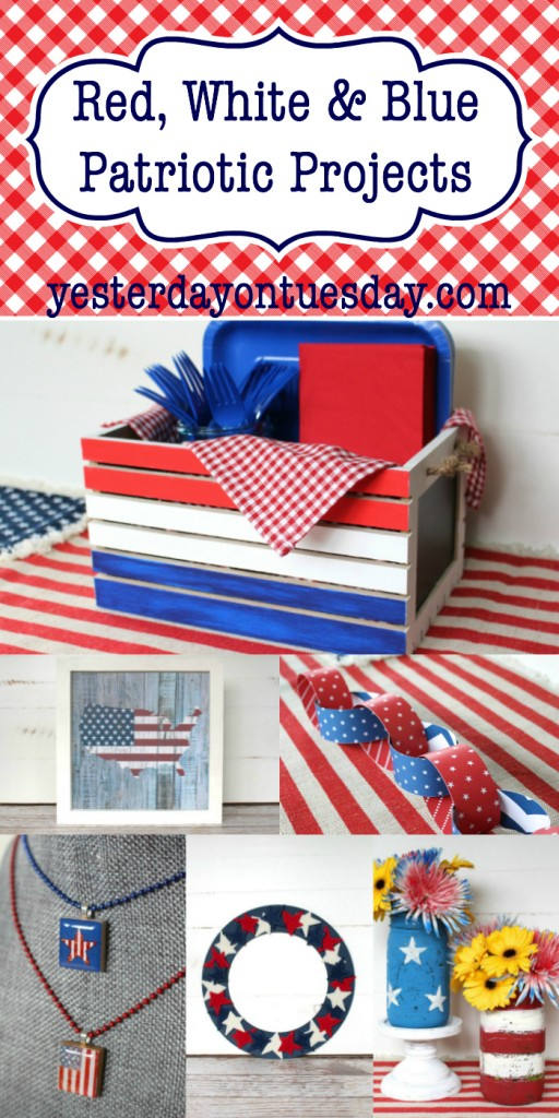 Red, White & Blue Patriotic Projects: DIY Picnic Box, flag art, a paper chain, painted mason jars and more, great for Memorial Day and 4th of July!