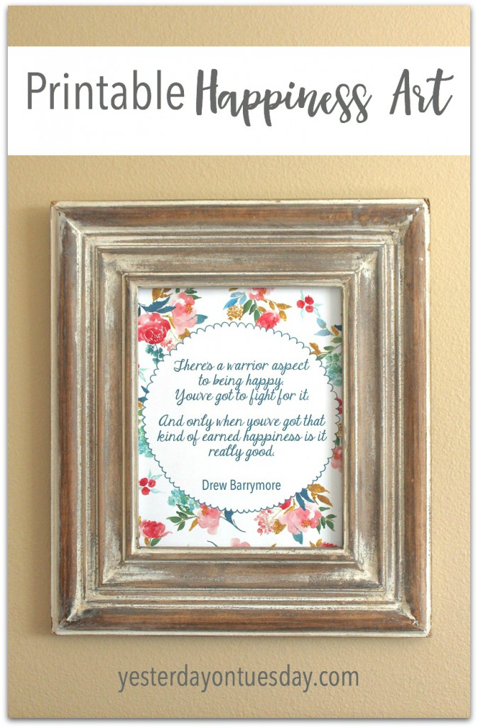 Printable Happiness Quote from Drew Barrymore. Uplifting and empowering plus great for framing!