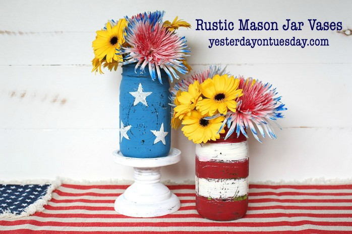 DIY Rustic Mason Jar Vases for Memorial Day and 4th of July