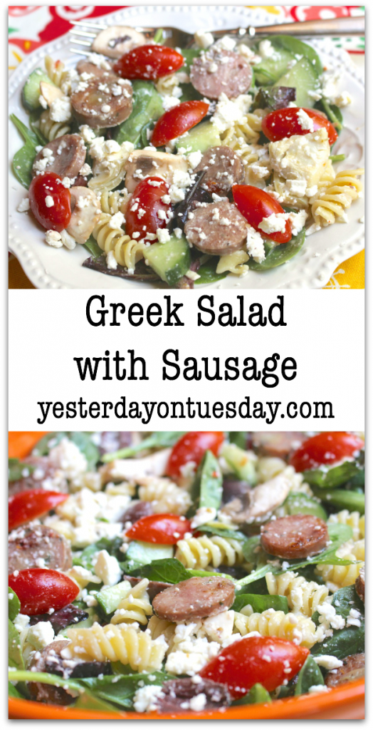 Greek Salad with Sausage Recipe: A tasty summer meal idea that's simple and simply delicious!