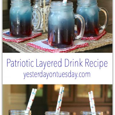 Patriotic Layered Drink in a Mason Jar