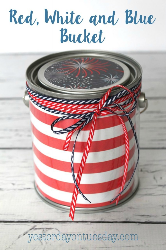 Red, White and Blue Bucket for the 4th of July